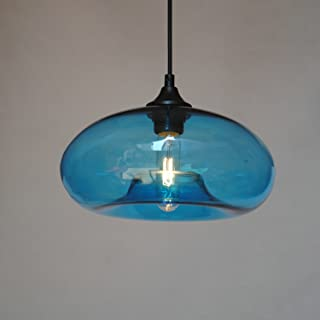 LightInTheBox Vintage Globe Chandelier Light Pendant Lamp Islamd Bowl Lighting with Glass Shade for Living Room Bedroom Dinning Room (Blue)