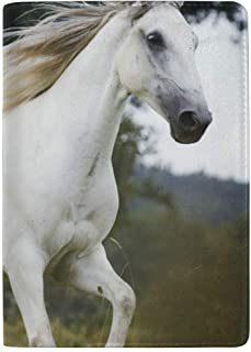 NgkagluxCap Leather Horse Tree Animal Passport Holder Cover Case Travel Wallet 5.5 inch