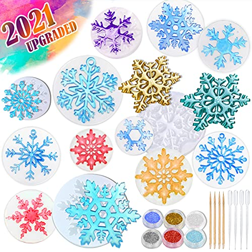 Catcrafter Silicone Snowflake Resin Casting Molds - Ornament Molds with Glitters Snowflakes Casting Jewelry Making Kit Accessories for Necklace Earring Keychain DIY for Home Decoration Weddings Party