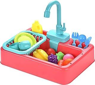 ألعاب حوض المطبخ التظاهري للأطفال قابلة للغسل مع نظام دورة مياه أوتوماتيكي هدية عيد ميلاد بيت لعب دور للأطفال البنات والأولاد