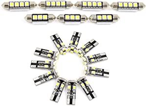 X AUTOHAUX 18pcs DC 12V Canbus Error Free White Car LED Lights Interior Dome Map Glove Box Footwell Cargo Area Kit for BMW E60 / E61 5 Series 1999-2006