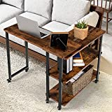 Tangkula 360° Free Rotating Sofa Side Table, Mobile Couch Desk with 2-Tier Storage Shelves, Movable Laptop Table with Sturdy Metal Frame, Couch Table Snack Table for Home Office (Rustic Brown)
