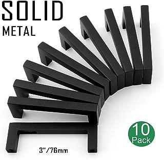 Koofizo Solid Square Bar Cabinet Handle - Black Furniture Pull, 3 Inch/76mm Screwhole Distance, 10-Pack for Kitchen Cupboard Door, Bedroom Dresser Drawer, Bathroom Wardrobe Hardware