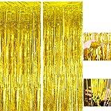 Cortinas de oropel metálico dorado, 2 piezas de cortinas de flecos de papel de aluminio, decoración de cortinas de borlas de brillo de oropel, cortinas de flecos de fondo (1x2.5m )