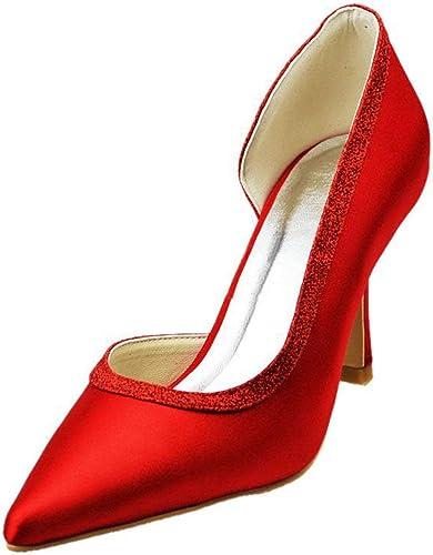 Qiusa Filles Femmes Bout Pointu D-Orsay Mariage Mariée Soirée Pompes Chaussures (Couleuré   rouge-9.5cm Heel, Taille   6 UK)