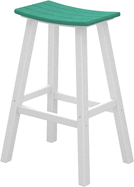 POLYWOOD 2012 FWHAR Contempo Bar Height Saddle Seat Barstool White Frame Aruba