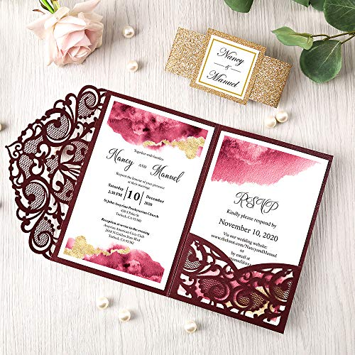 DORIS HOME 4.7x7 Inch 25PCS Blank Burgundy Laser Cut Wedding Invitations With Envelopes Kit Hollow Heart Shape Pocket With Gold Glitter Belly Band Wedding Invitation Cards For Wedding Invite