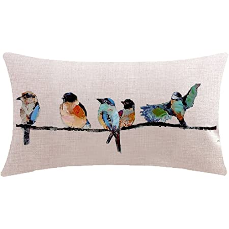 Itfro Hand Painted Oil Painting Rustic Forest Wildlife Birds Tree Branches Waist Lumbar Cotton Linen Throw Pillow Case Cushion Cover Long Home Kitchen