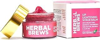 Herbal Brews - Lip Balm for Dark Lips to Lighten - 100% Ayurvedic Organic LIP SCRUB for Men & Women with Strawberry, Beetr...