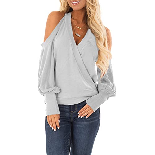 152ba60dc2aea4 Yingkis Women's Cold Shoulder Tops Long Sleeve Deep V-Neck Wrap Front Blouse  Loose Pullover