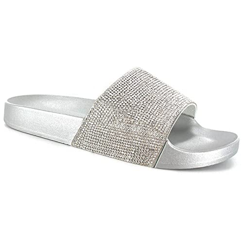 c2b8a1f9b SUGAR ISLAND Celebrity Style Ladies Womens Glitter Diamante Flip Flop  Sliders Plain Slippers Mules