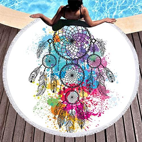 Atrapasueños Toalla De Playa Redonda Delicadas Toallas De Baño De Microfibra para Manta Al Aire Libre Sala De Estar Hogar Natación Regalo De Verano