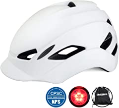 KINGBIKE City Urban Bike Helmet for Men Women,with Portable Backpack,Safety Taillight,CPSC Certified(Fit Head Size56-60CM) (Black+White, L)