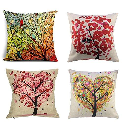 Funda de almohada, Han Shi moda Happy Halloween 4pc sofá cojín Home Decor casos de impresión, Art Deco, Colorido, 4