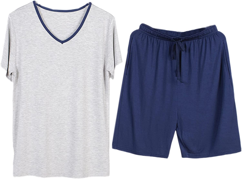 WSLCN Men's Summer Short Pajamas Set Modal Nightsuit Nightwear Sleepwear Loungewear