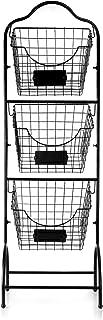 Sunny Living 3-Tier Market Basket Stand, Kitchen Fruit Storage Basket for Kitchen, Bathroom Towel Basket Display Rack, Black