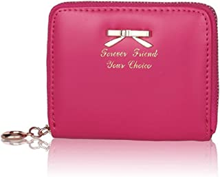 Sannysis Women's Fashion Cute Purse Clutch Wallet Short Small Bag Card Holder About 11X9X2Cm/4.3X3.5X0.8Inch Hot Pink