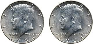 1964 Set of 2-90% Silver John F Kennedy JFK Half Dollar Circulated Very Fine