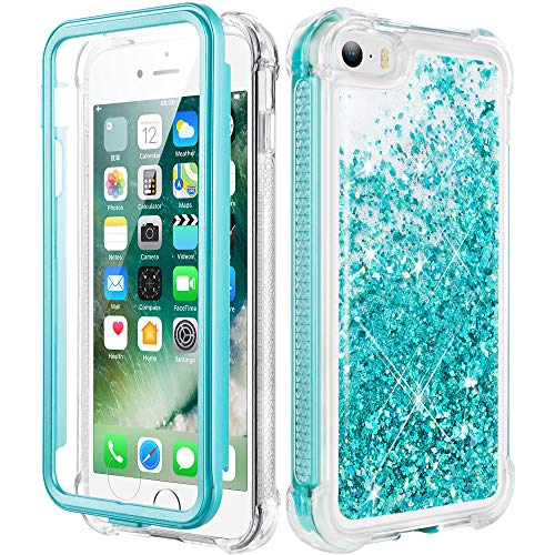 Caka iPhone 5 Case, iPhone 5S Case, iPhone SE (2016) Glitter Full Body Case with Screen Protector Bling Sparkle Floating Liquid Girls Girly Women Cute Protective Case for iPhone 5 5S SE (Teal)