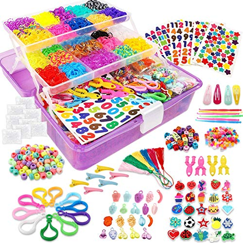 Outuxed 13000+ Colorful Rubber Bands Mega Refill Bracelet Making Kit, Colorful Jewelry Making Kit for Kids, Over 12000 Loom Bands, DIY Loom Bracelets Making Set with Beads & Endless Accessories