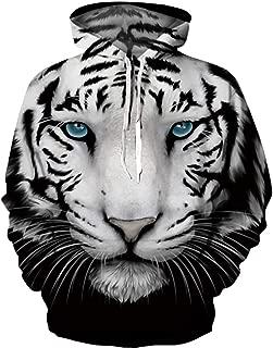 BarbedRose Unisex 3D Printed Novelty Hoodies Unicorn Hoodies Sweatshirt with Pockets,Cool Tiger,L/XL