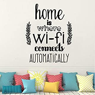 YHEGV Self-Adhesive Wall Stickerdecor Home is Where WiFi Connected Quote Wall Decals Living Room Vinyl Wall Stickers Family Love Design Wall Mural