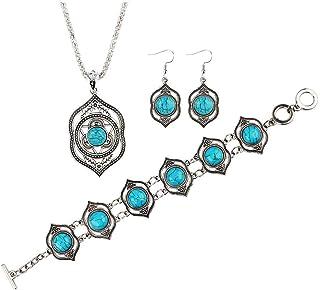 Gioielli retrò europei e americani turchese orecchini stile etnico collana gioielli braccialetto tre pezzi set
