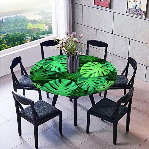 Mantel Antimanchas Redondo, Chickwin Patrón de Hoja Verde Mantel de Mesa Impermeable Diseño de Borde Elástico, Mantel Redondo para Comedor, Fiestas, Cocina y Picnic (Hoja de Tortuga,90cm)