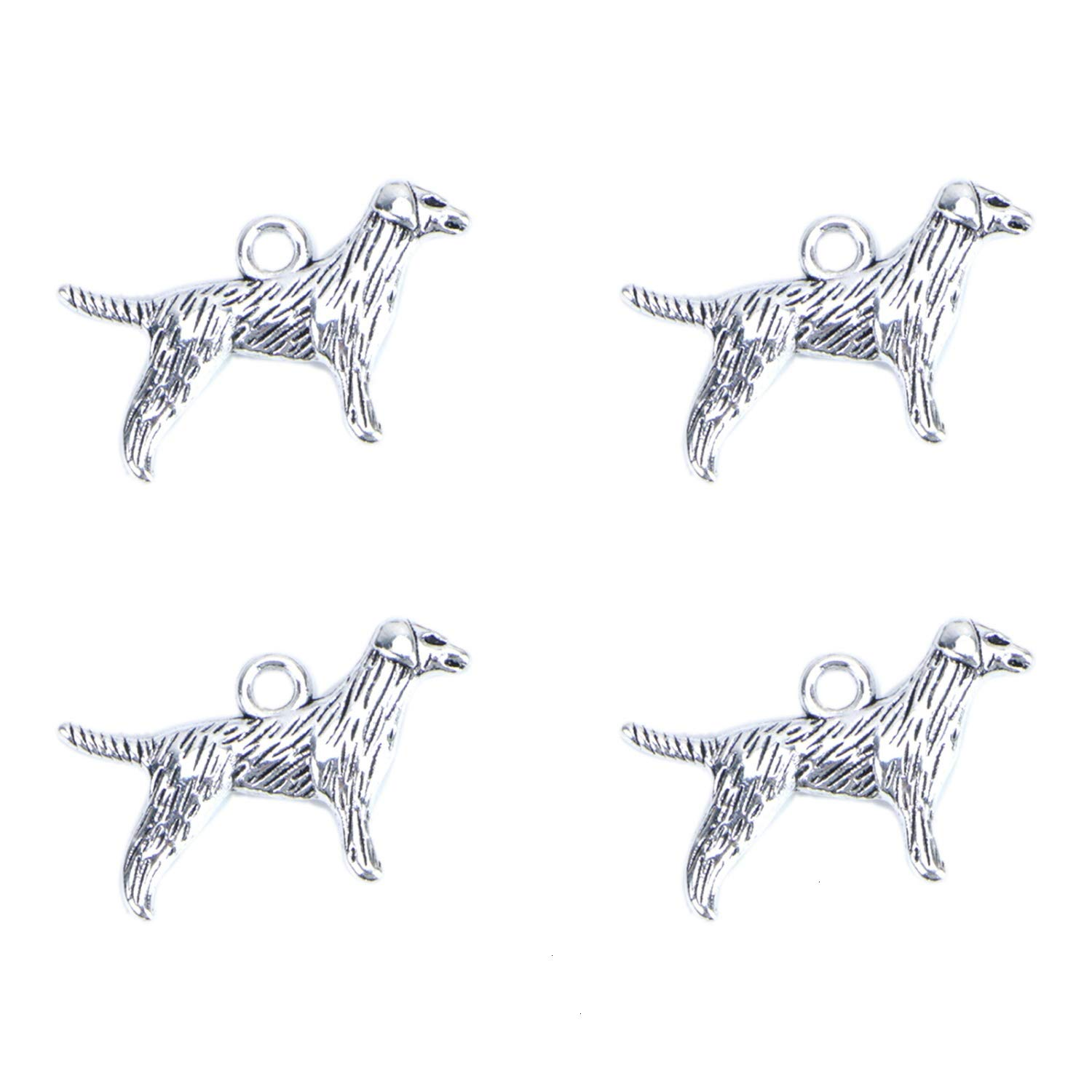 Monrocco 40pcs Tibetan Antique Dog Charms Pendants for Jewelry Making Crafting Key Chain Bracelet Necklace Earrings