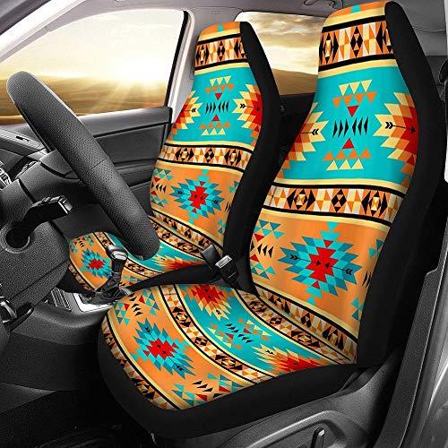 WSJMJ - Juego de 2 fundas para asiento de coche, protectores de asiento delantero con Split, accesorios interiores de impresión étnica, automóvil, 100% transpirable, para coche, todoterreno, camión,