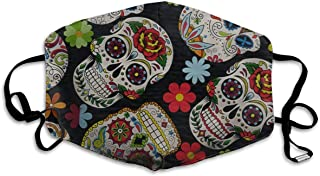 Face Mask Sugar Skull & Flowers Stylish Cycling Half Face Earloop Face Mask for Men