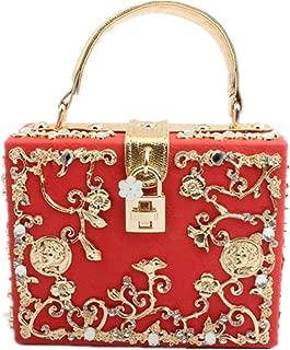 Blackbird Women Evening Clutch Bag, Lace PU Square Box Shoulder HandBags For Wedding Party Tote Purse