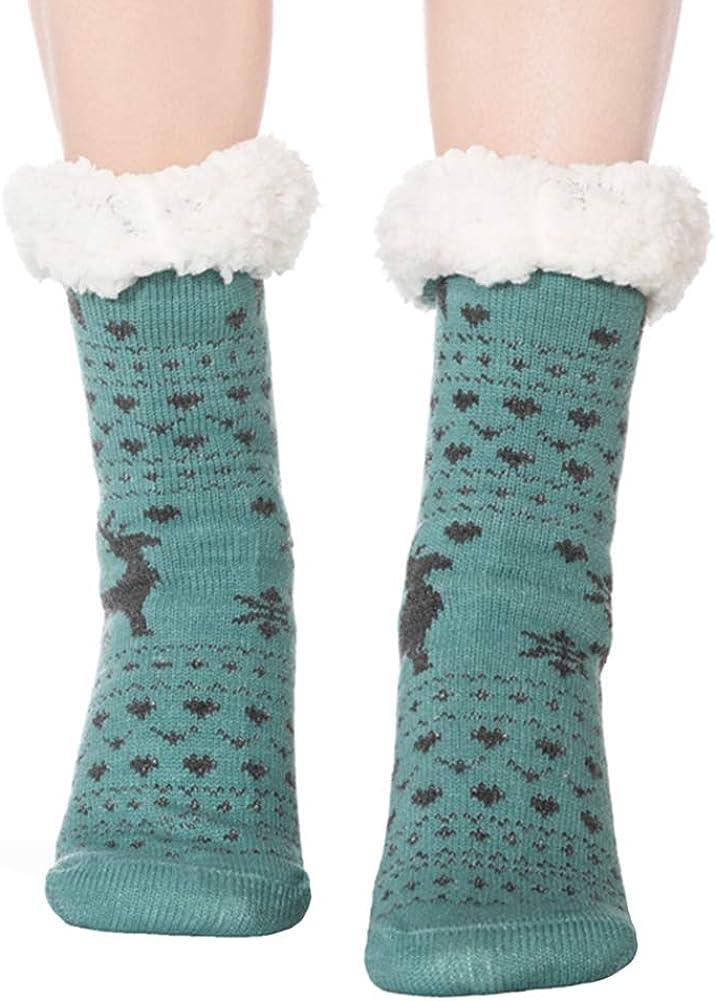 FRALOSHA 3 Paar Hirsch H/üttensocken Damen wintersocken warme kuschelsocken Fuzzy Anti-Rutsch-Futter Stoppersocken Socken