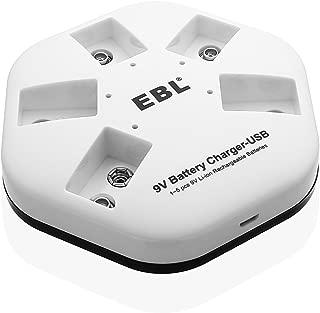 EBL 5 Slot 9V Li-ion Rechargeable Battery Charger for TENS Smoke Detector Multimeter Alarm System etc - USB Input Port
