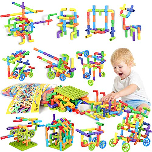 175 Piece STEM Building Blocks, Pipe Tube Sensory Toys, Creative Tube Locks Construction Set with Wheels Baseplate, Preschool Educational Learning Toys, Present Gift for Toddler Boys Girls Aged 3+
