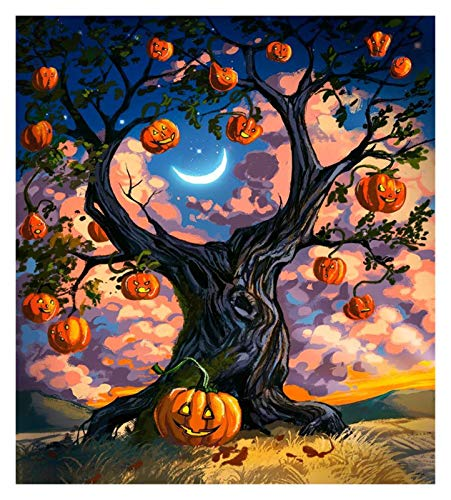 HENA DIY 5D Diamond Painting Kits for Adults, Children Full Drill Rhinestone Embroidery Cross Stitch Halloween Decorations, 3 Funny Skeletons (Color : Pumpkin Tree Moon, Size : 30X40CM)