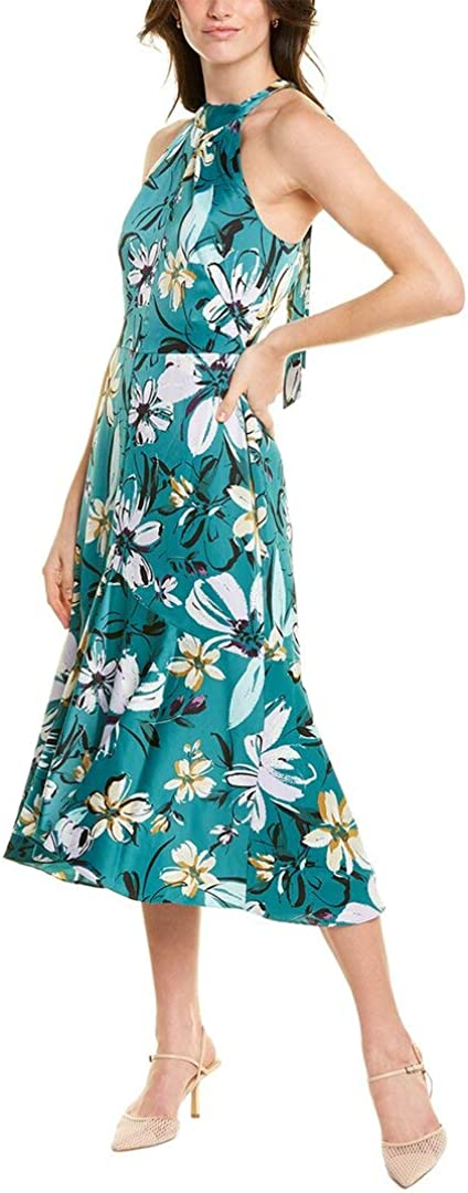 Maggy London Women's Whimsical Floral Printed Charmeuse Sleeveless Fit and Flare