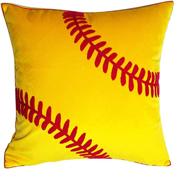 DECOPOW Embroidered Soft Throw Pillow Covers Square 18 Inch Decorative Canvas Pillow Cover For Softball Room Decor Cover Only Softball Pattern