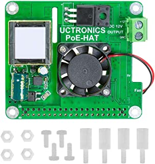 UCTRONICS PoE HAT for Raspberry Pi 4, 802.3at Power Over Ethernet Expansion Board for Raspberry Pi 4 B 3 B+, with Cooling Fan