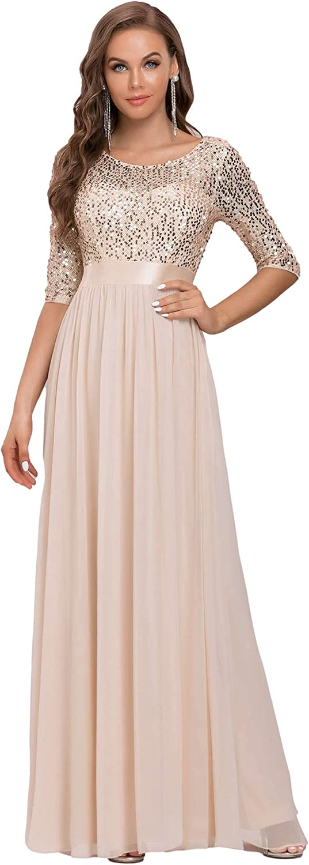 Ever-Pretty Women's V-Neck Sequin Maxi Dress Long Evening Dress 0683