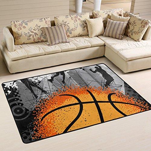 yibaihe leicht bedruckt Bereich Teppich Teppich Fußmatte Deko Basketball und Player wasserabweisend leicht zu reinigen für Wohnzimmer Schlafzimmer, 91 x 61 cm