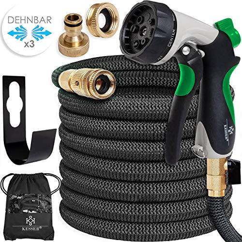KESSER® Premium Flexibler Gartenschlauch | 30m ausgedehnt |+ Wandhalterung | Wasserschlauch flexibel mit 3-Fach Latexkern | dehnbarer flexiSchlauch |Verschraubungen aus hochwertigem Messing, Schwarz
