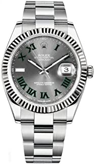 Datejust 41 Grey Dial with Green Roman Numeral Markers Men's Watch Ref. 126334