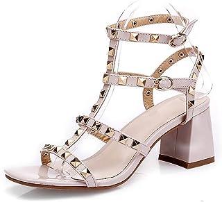 c13fe7e5 Damas Para Mujer Correa De Tobillo Sandalias Con Tachuelas Para Mujer  Remache Bloque Zapatos De Tacón