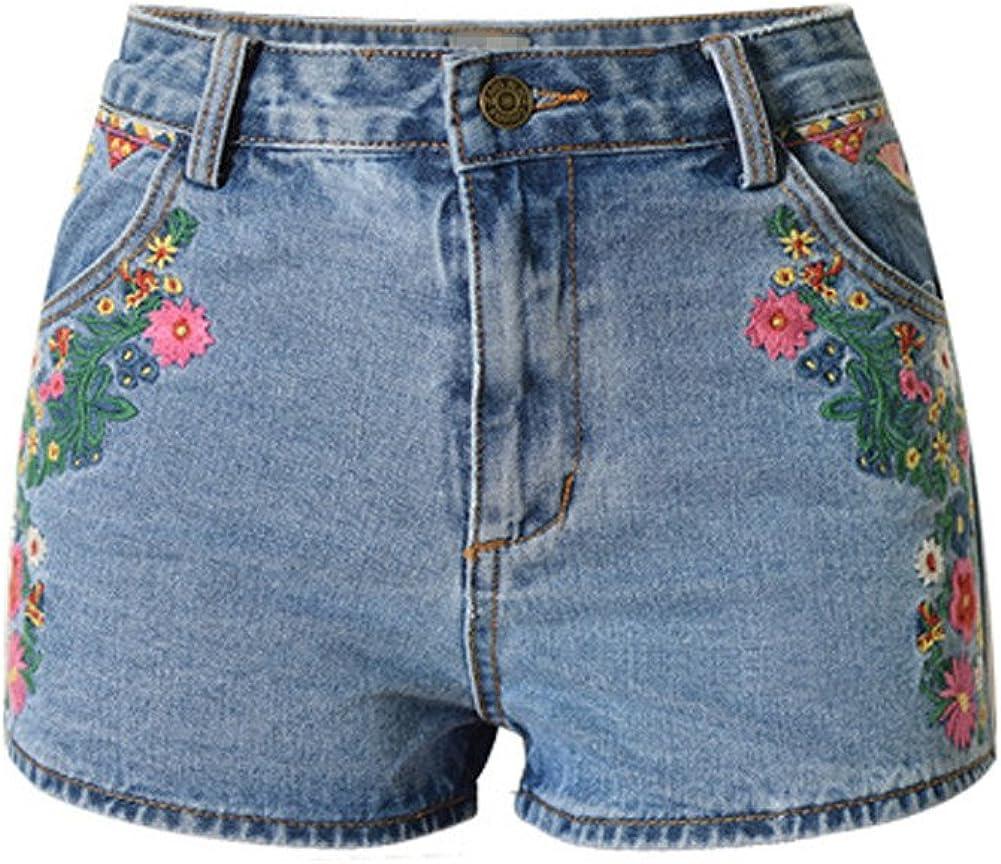 LIYT Women's Fashion Blue Slim Fit High Waist Denim Shorts