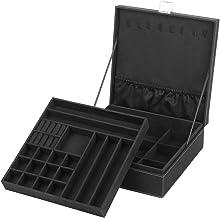 NEX Jewelry Box Organizer, 2 Layers Lint Jewelry Display Storage Case with Lock for Girls..