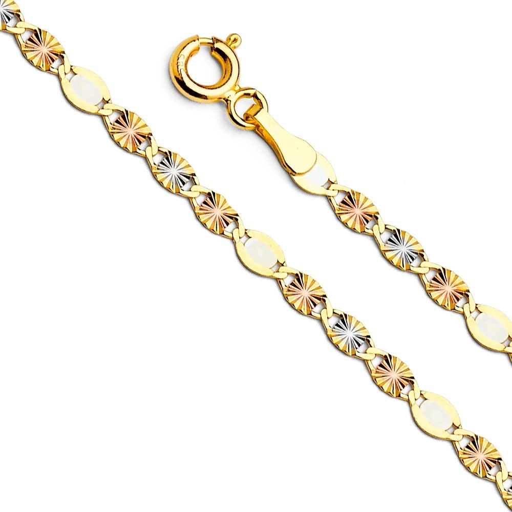 14k REAL Tri Color Gold Solid 3mm Flat Star Diamond Cut Chain Necklace with Spring Ring Clasp