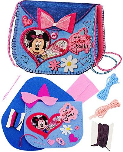 alles-meine.de GmbH Bastelset - Filz Tasche -  Disney Minnie Mouse  - zum Sticken, einfaches Nähen per Hand - Filztasche - Handtasche - Umhängetasche / Schultertasche - Komplet..