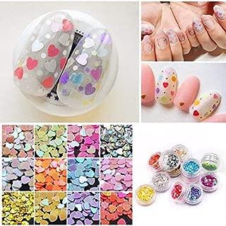 MEILINDS 12 Color Nail Art Glitter Paillette Sequins Heart Shape Acrylic UV Gel False Tips Decorations