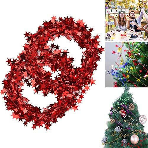 USLong Girlande mit Lametta-Sternen – 2 Rollen Lametta Draht Girlande Weihnachtsbaum Dekoration Neujahr Hochzeit Party Zubehör Festliche Ornament 2 Rollen – Rot
